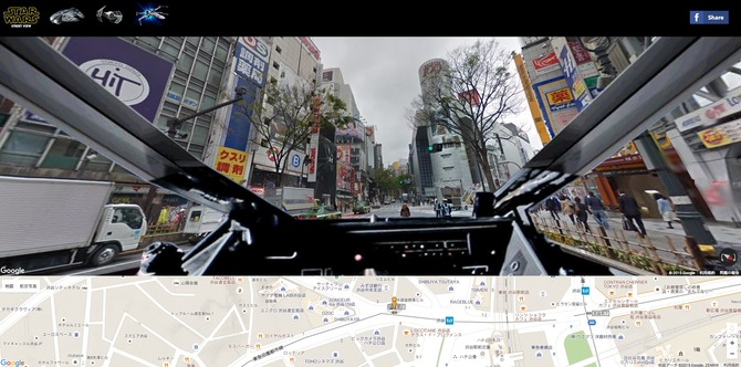 海外「STAR WARS」ファンの手によって、GoogleストリートビューをXウィングやTIEファイター、ミレニアム・ファルコン号のコクピット視点で探索するMod風サービス「STAR