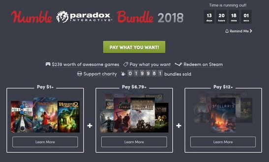 『Stellaris』や『Hearts of Iron III』収録の「Humble Paradox Bundle 2018」開始