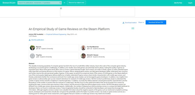 An Empirical Study of Game Reviews on the Steam Platform(ResearchGateより)
