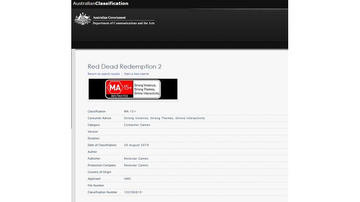 PC版『レッド・デッド・リデンプション2』と見られる登録情報が豪レーティング機関で確認される